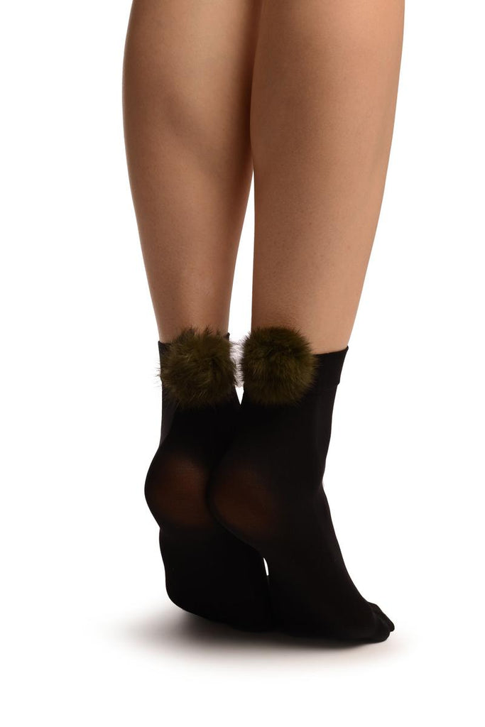 Black With Green Pon Pon Rabbit Fur Ankle High Socks