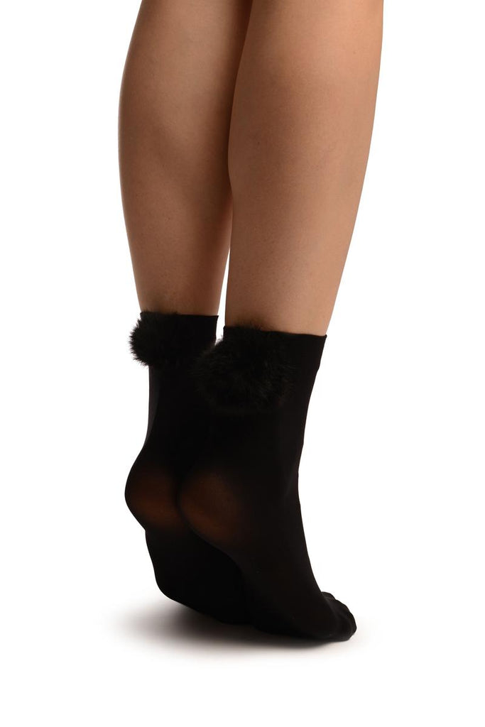 Black With Black Pon Pon Rabbit Fur Ankle High Socks
