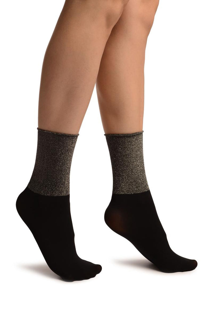 Black With Silver Lurex Wide Stripe Top Ankle High Socks