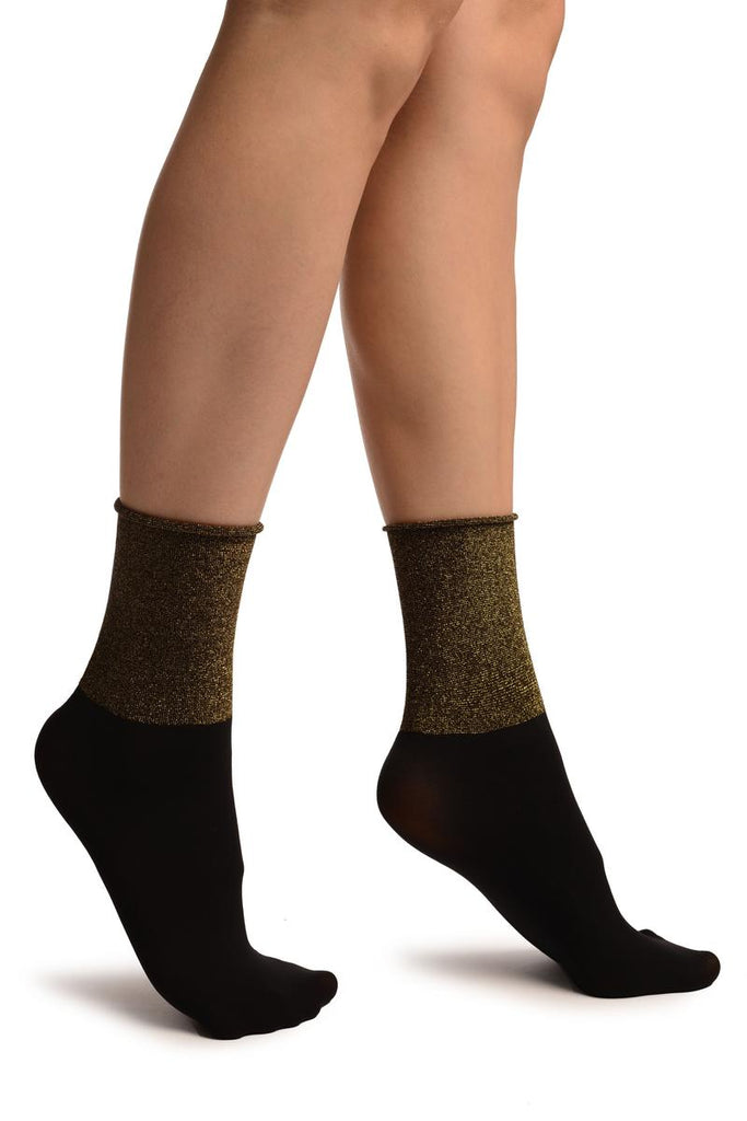 Black With Gold  Lurex Wide Stripe Top Ankle High Socks