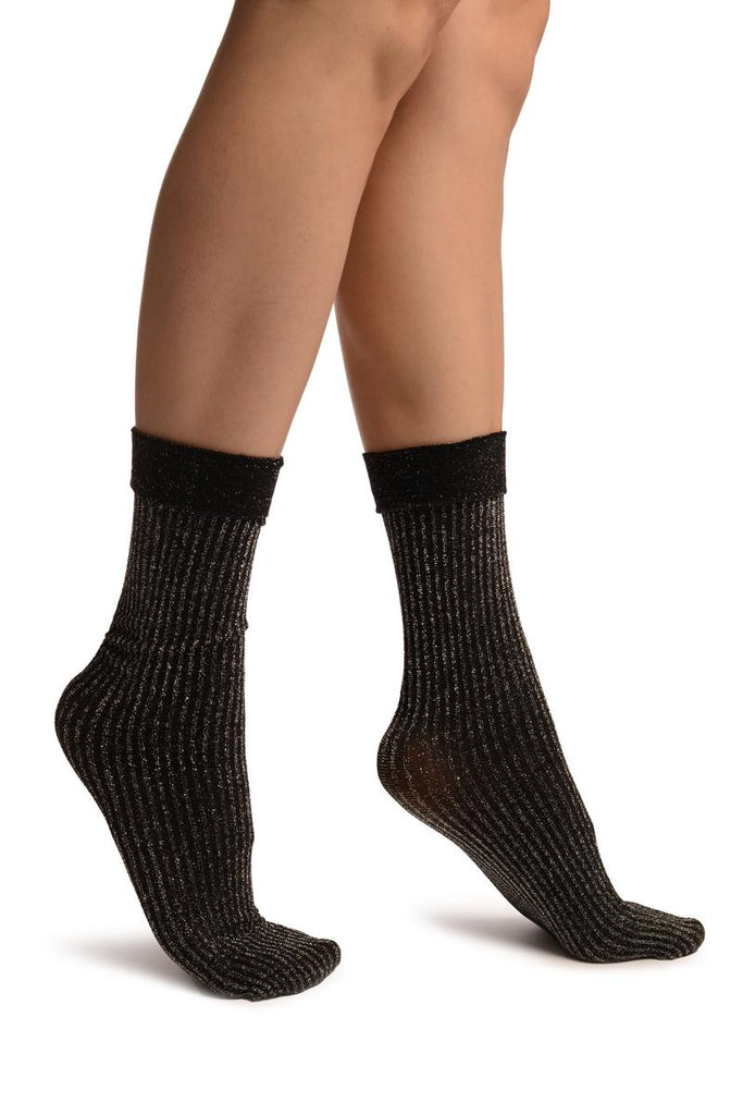 Black Ribbed With Silver Lurex Ankle High Socks