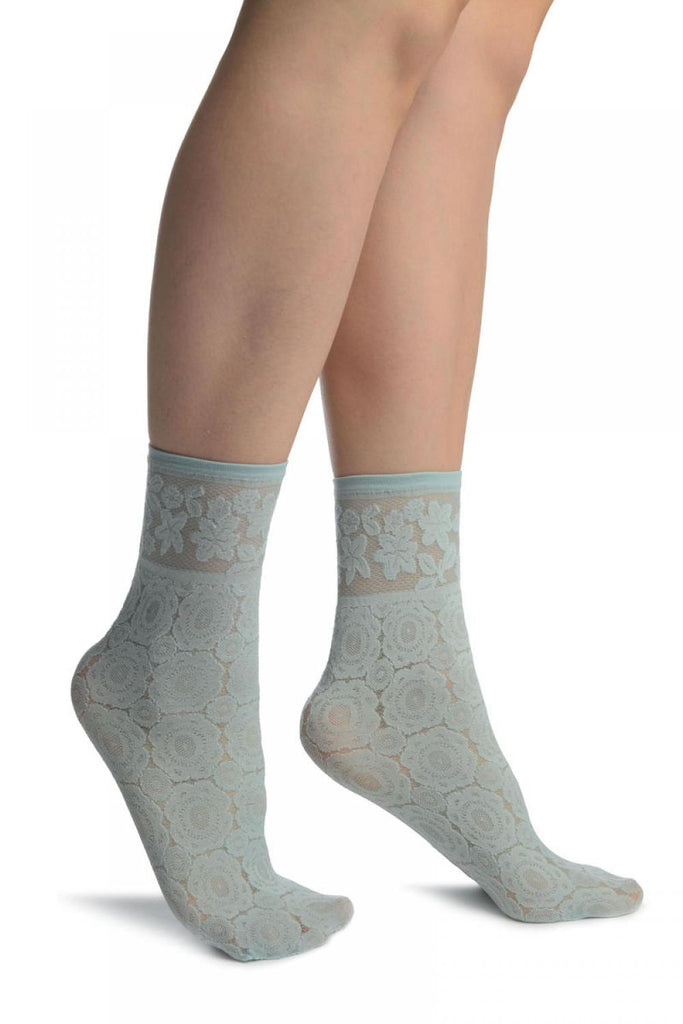 Powder Blue With Large Lace Flowers Ankle High Socks