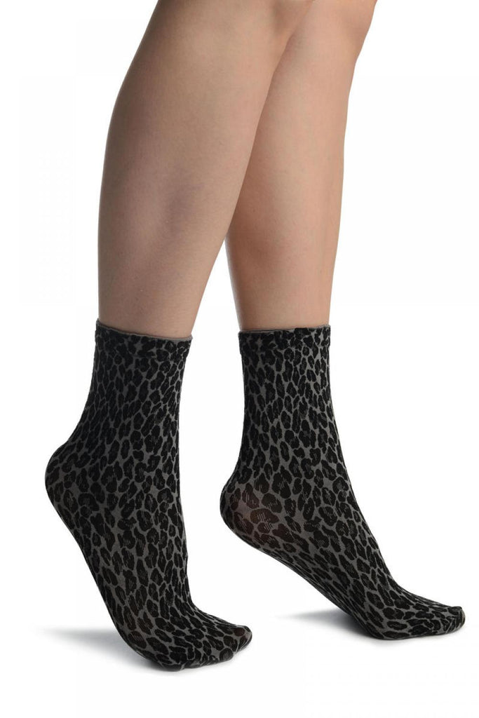 Grey Woven Leopard Ankle High Socks