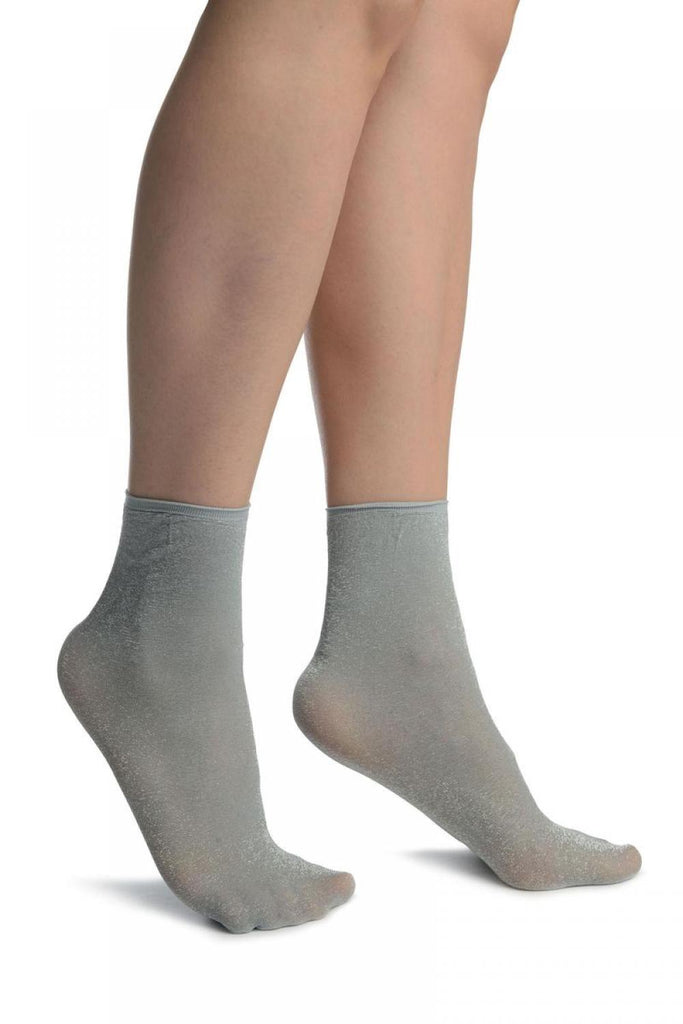 Grey With Lurex And Plain Top Ankle High Socks