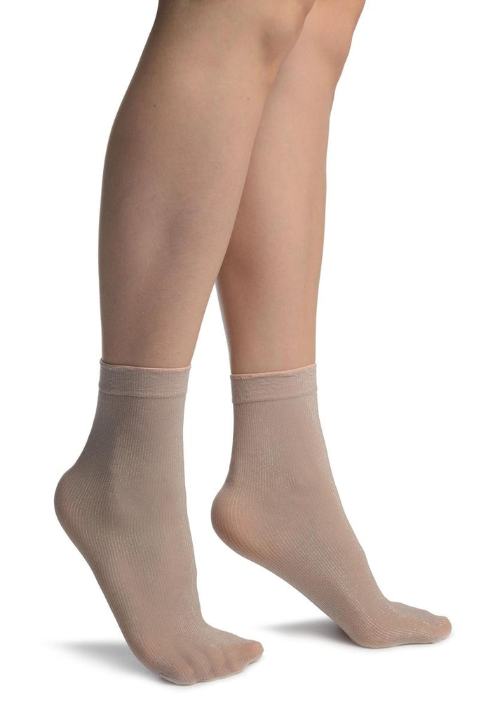 Dust Pink With Lurex Pinstripes Ankle High Socks