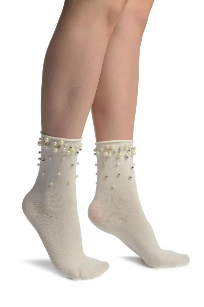 White With Pearls and Silver Beads Ankle High Socks