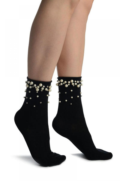 Black With Pearls and Silver Beads Ankle High Socks