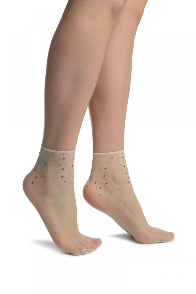 Off-White With Stars /& Crystals Ankle High Socks Socks