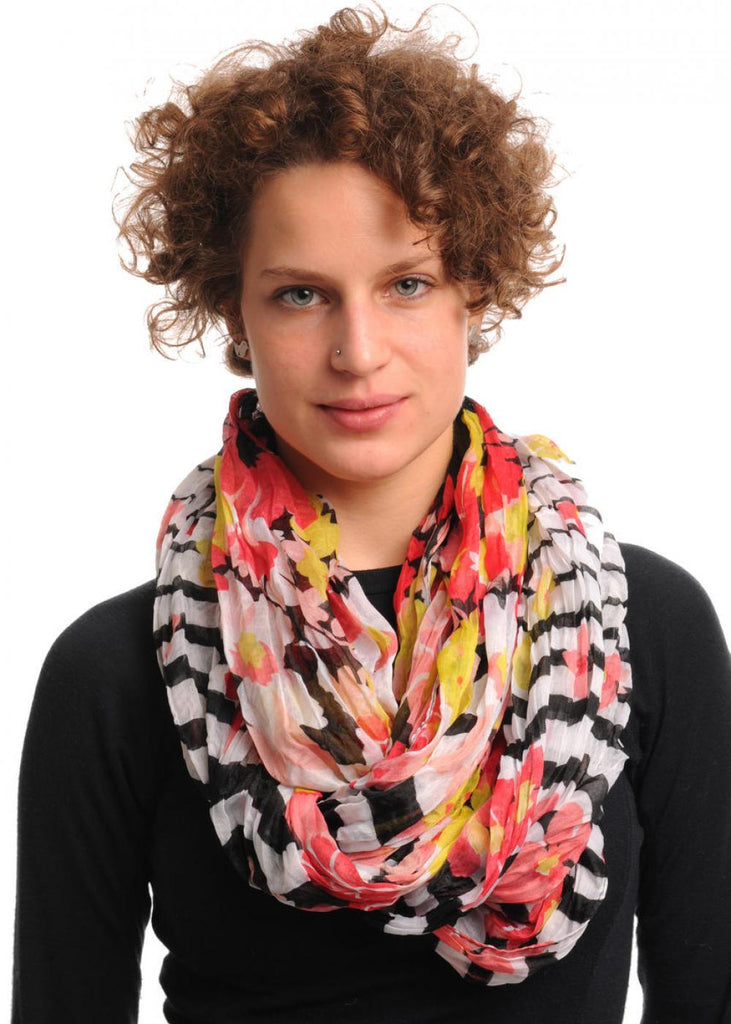 Red & Pink Flowers With Black & White Stripes on Black Snood Scarf