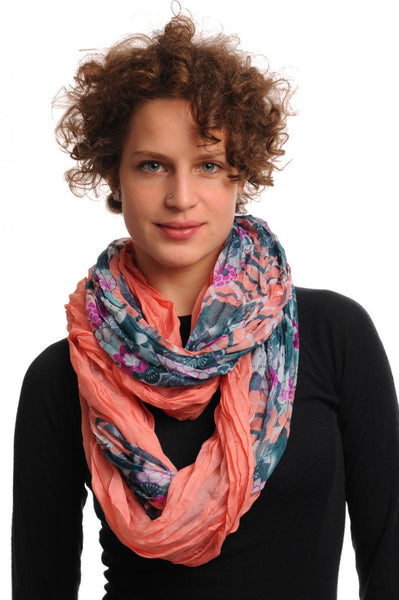 Cerulean & Purple Flowers on Coral Pink Snood Scarf