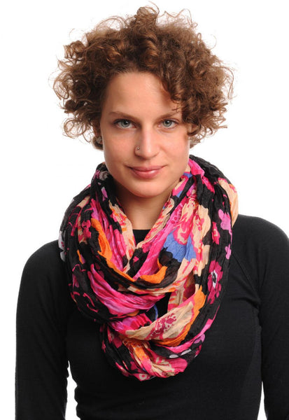 Large Red Pink & Beige Flowers On Black Snood Scarf