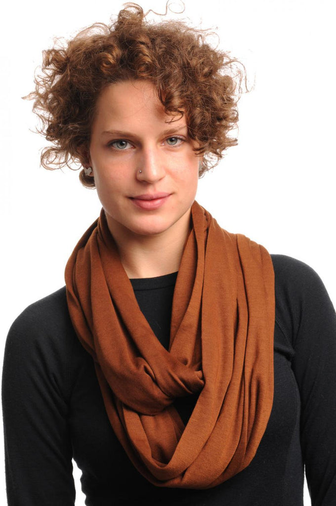 Chocolate Brown Soft Cotton Snood Scarf