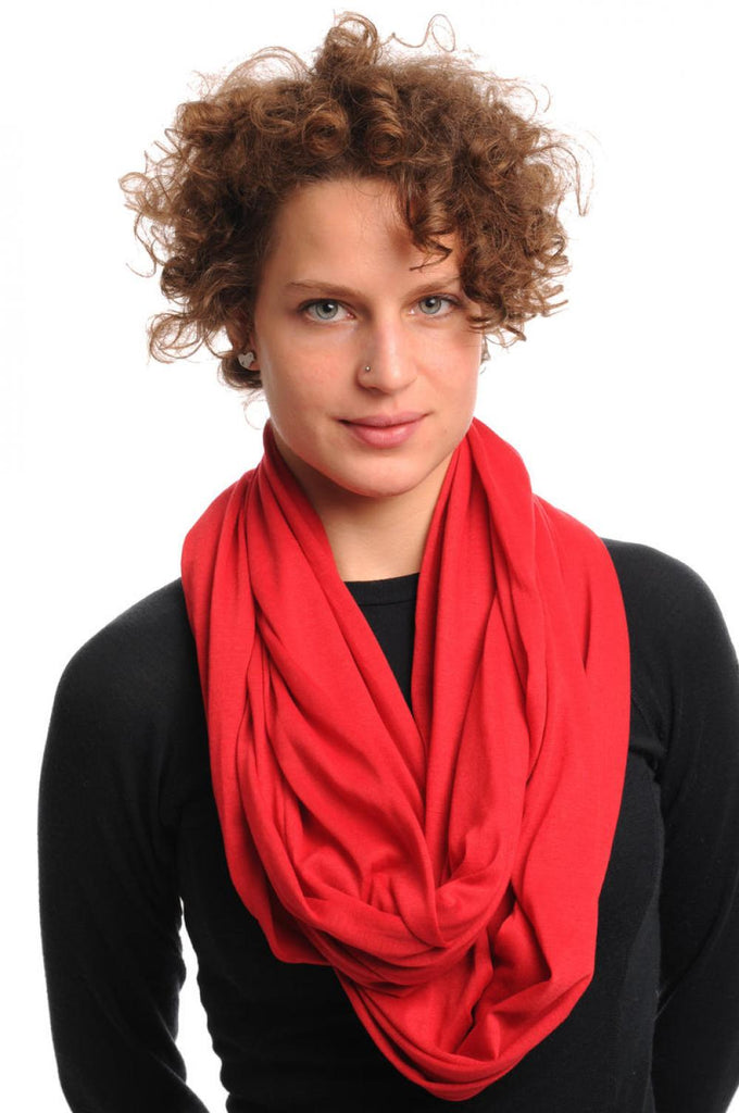 Crimson Red Soft Cotton Snood Scarf