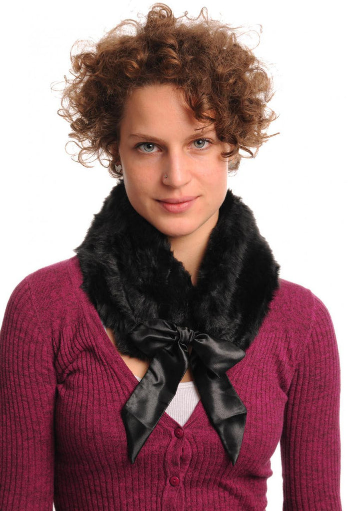 Black Faux Fur Collar With Satin Bow Collar Scarf