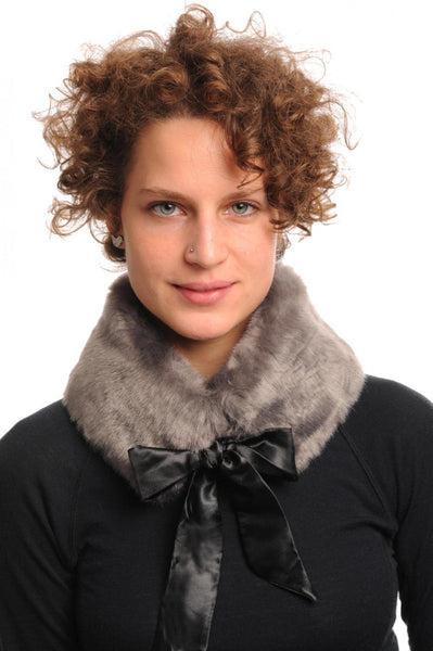 Grey Faux Fur Collar With Satin Bow Collar Scarf
