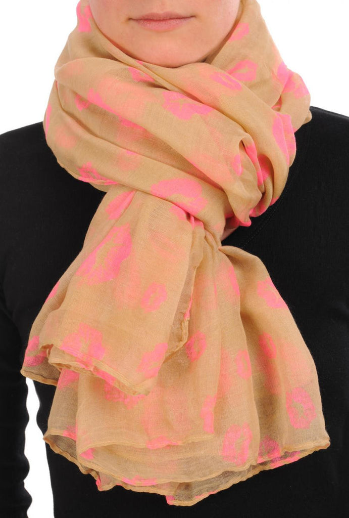 Beige With Pink Lips Unisex Scarf & Beach Sarong