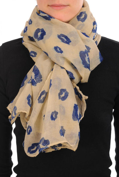 Beige With Navy Blue Lips Unisex Scarf & Beach Sarong