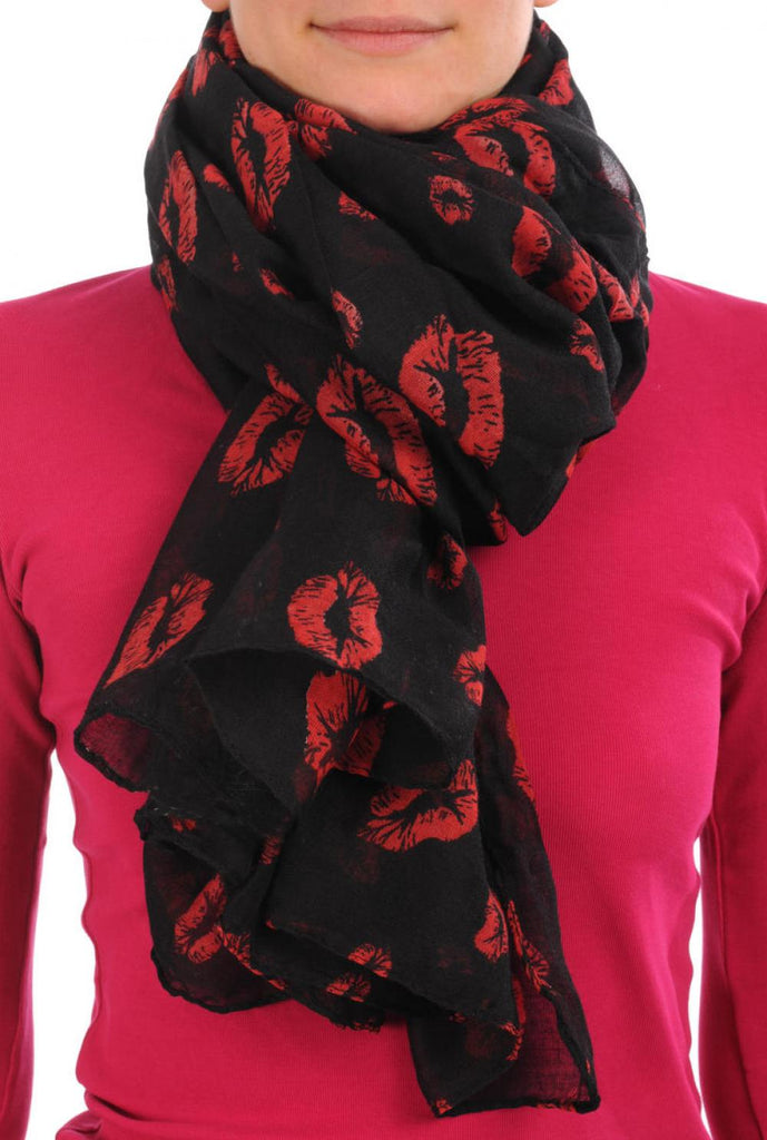 Black With Red Lips Unisex Scarf & Beach Sarong