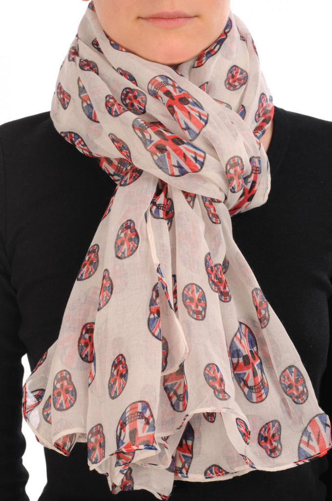 Linen Beige With British Flag Skull Unisex Scarf & Beach Sarong