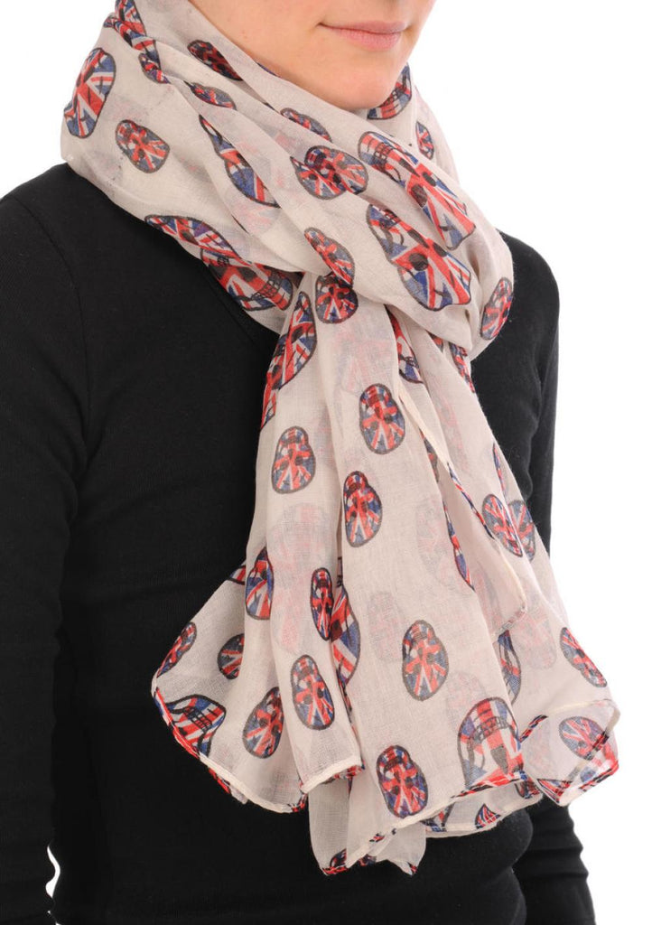 Linen Beige With British Flag Skull Unisex Scarf and Beach Sarong SF000704