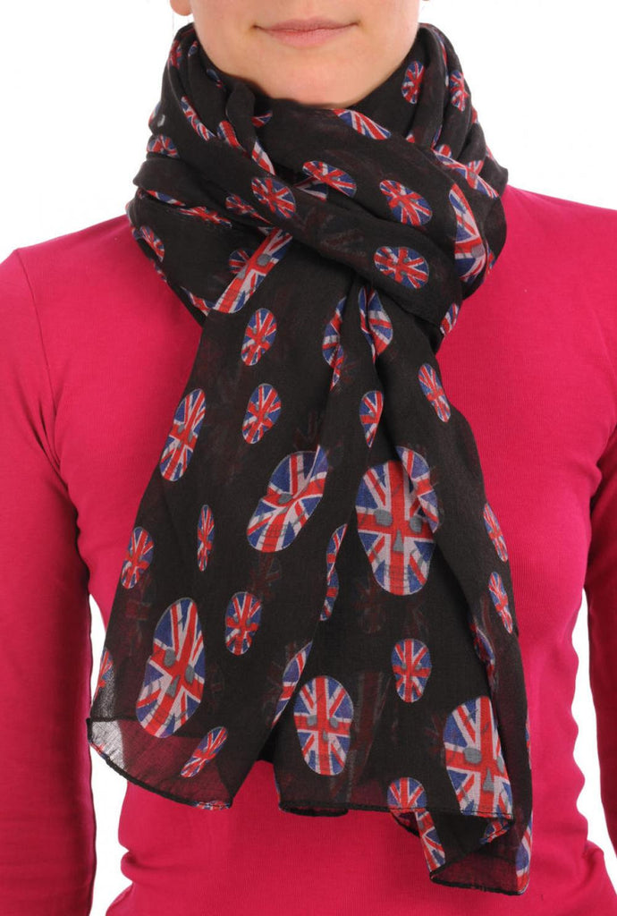Black With British Flag Skull Unisex Scarf & Beach Sarong