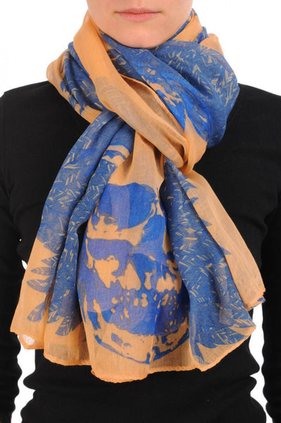 Beige With Blue Skull & Raven Wings Unisex Scarf & Beach Sarong
