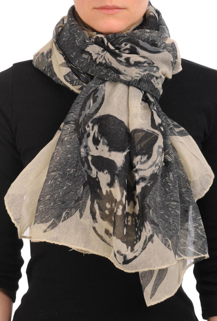 Beige With Black Skull & Raven Wings Unisex Scarf & Beach Sarong