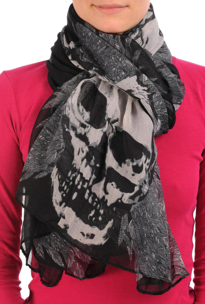 Black With Beige Skull & Raven Wings Unisex Scarf & Beach Sarong