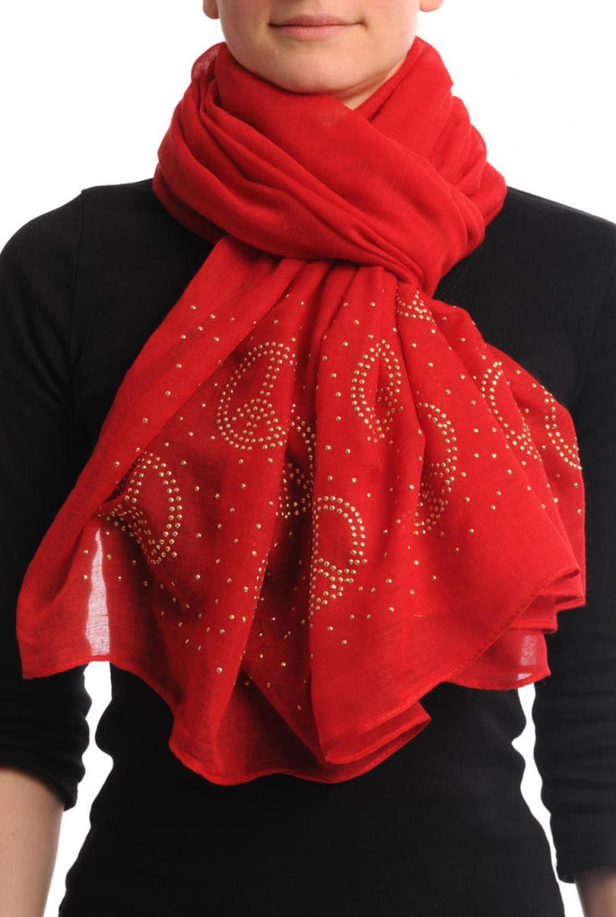 Red With Gold Studded Peace Signs Unisex Scarf & Beach Sarong
