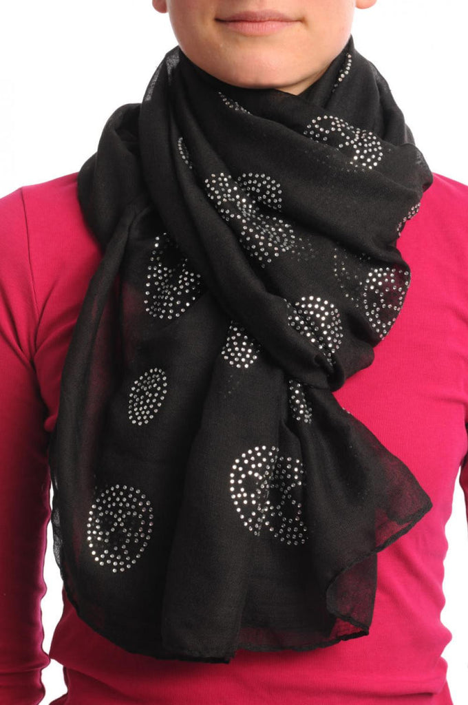 Black With Crystal Diamonds Skulls Unisex Scarf & Beach Sarong
