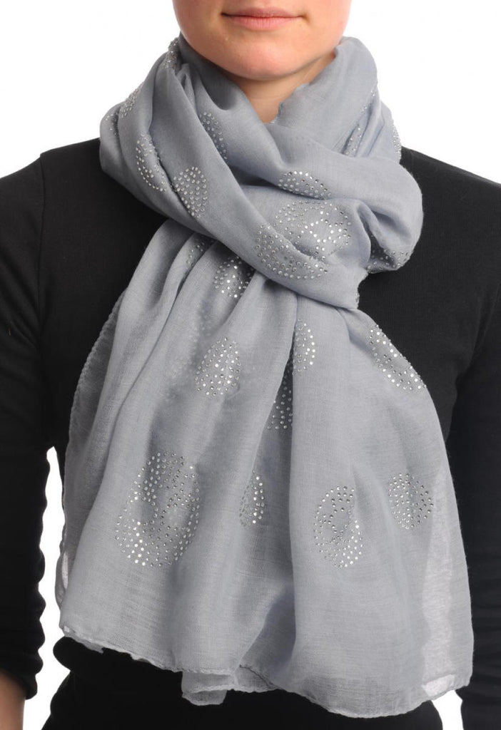 Grey With Crystal Diamonds Skulls Unisex Scarf & Beach Sarong