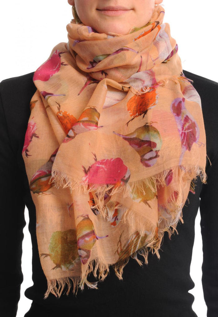 Colourful Birds on Peach Unisex Scarf & Beach Sarong