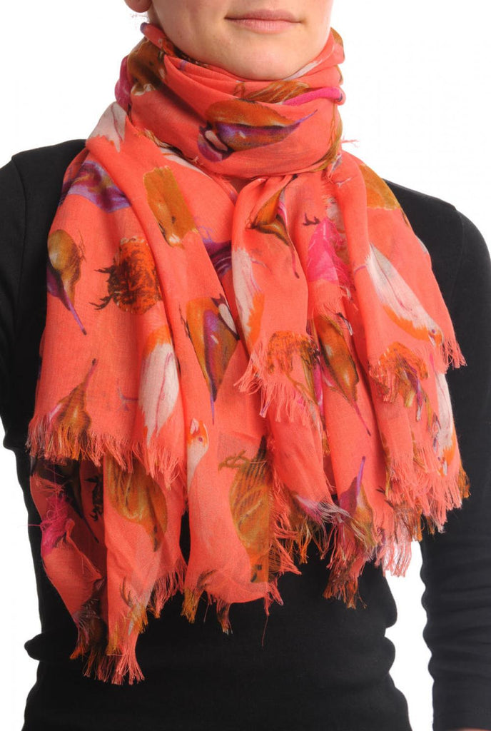 Colourful Birds on Coral Unisex Scarf & Beach Sarong