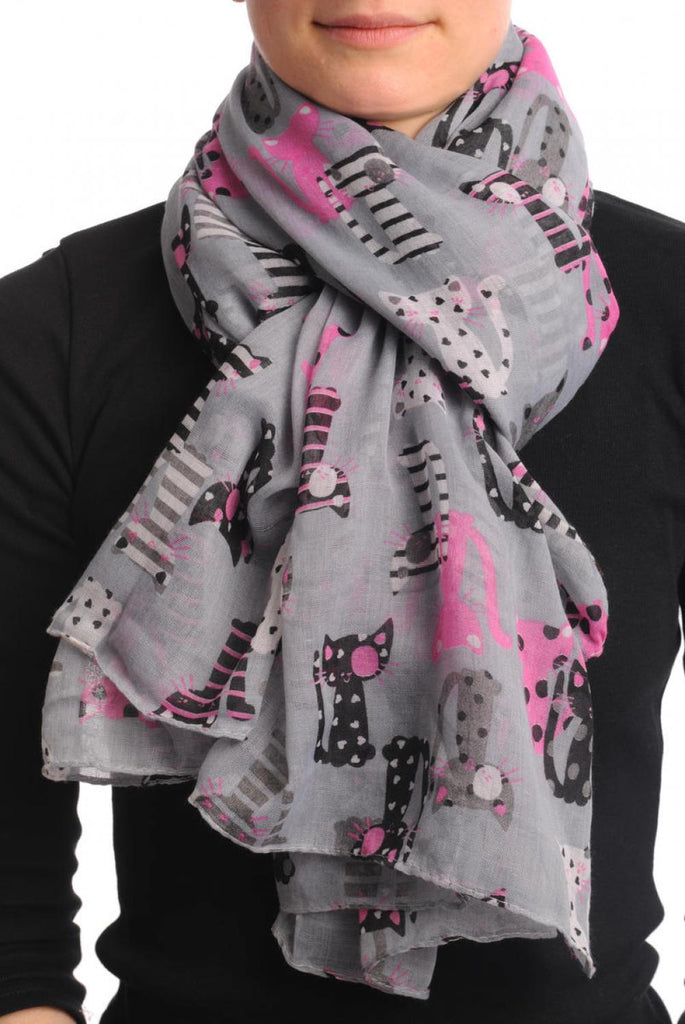 Grey With Cats In Love Unisex Scarf & Beach Sarong
