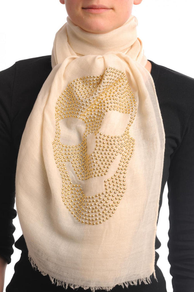Cream With Large Gold Studded Skull Unisex Scarf & Beach Sarong