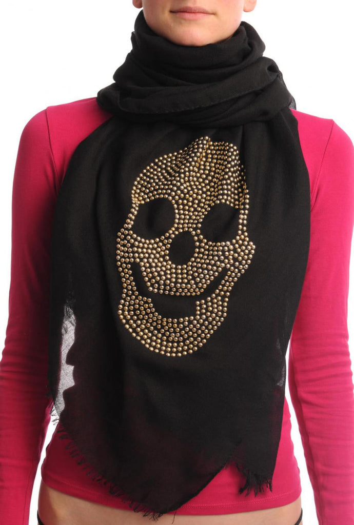 Black With Large Gold Studded Skull Unisex Scarf & Beach Sarong