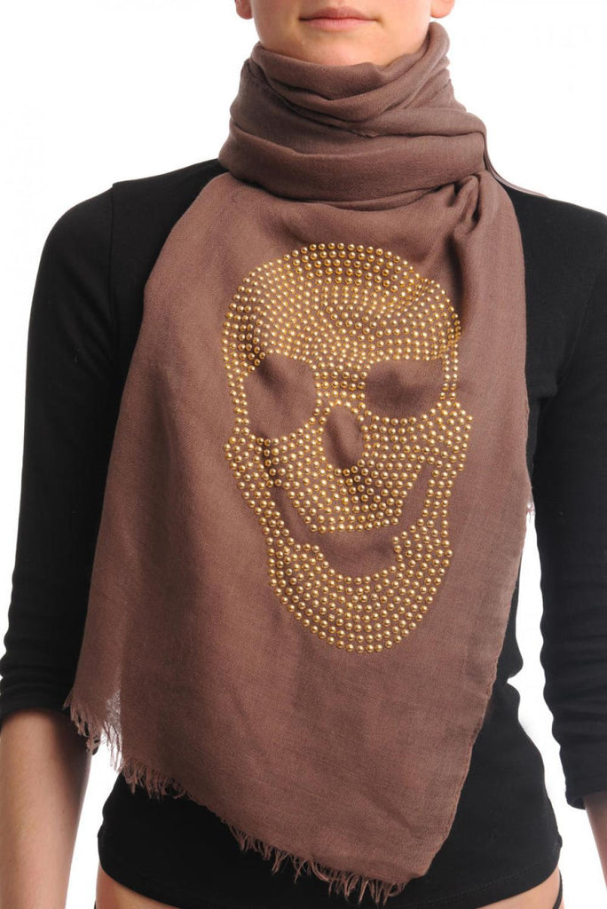 Brown With Large Gold Studded Skull Unisex Scarf & Beach Sarong