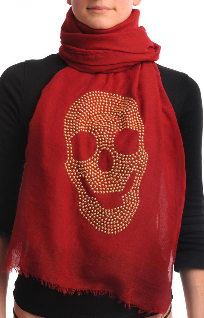 Dark Red With Large Gold Studded Skull Unisex Scarf & Beach Sarong