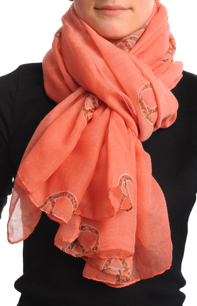 Peach Blue With Leopard Peace Signs Unisex Scarf & Beach Sarong