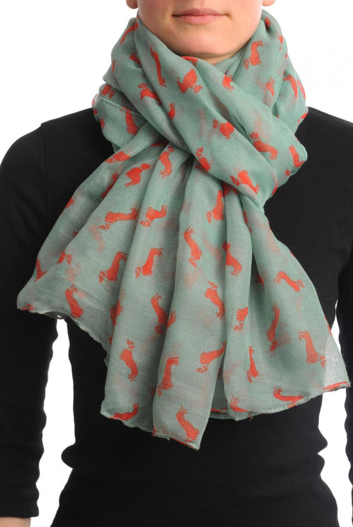 Turquoise With Rust Dogs Unisex Scarf & Beach Sarong