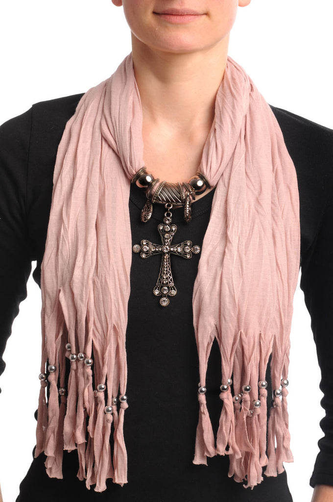 Peach Jewellery Scarf With Cross Pendant & Beads