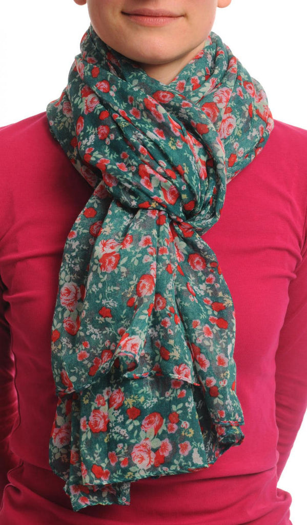 Small Roses On Pine Green Unisex Scarf & Beach Sarong