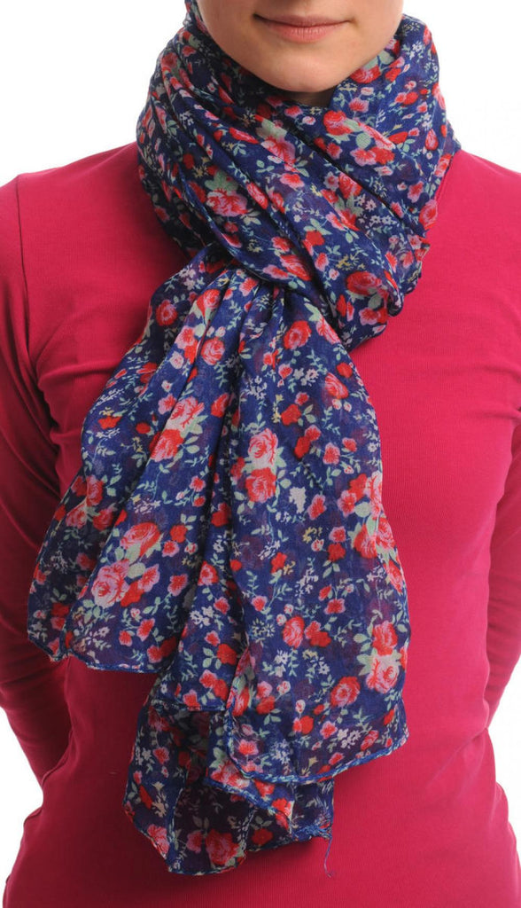 Small Roses On Blue Unisex Scarf & Beach Sarong