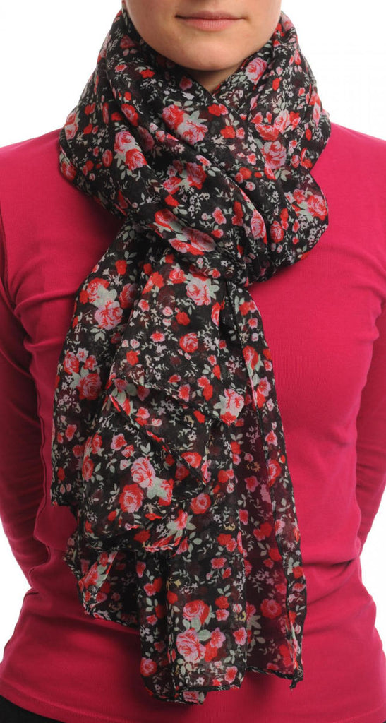 Small Roses On Black Unisex Scarf & Beach Sarong