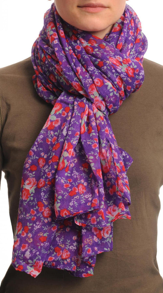 Small Roses On Purple Unisex Scarf & Beach Sarong