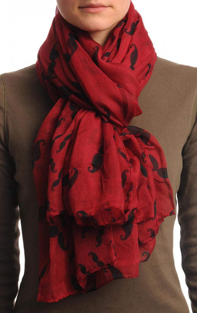 Moustaches Print On Burgundy Red Unisex Scarf & Beach Sarong