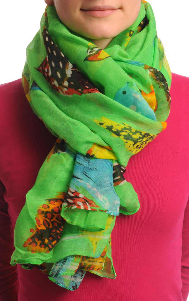 Exotic Birds On Bright Green Unisex Scarf & Beach Sarong
