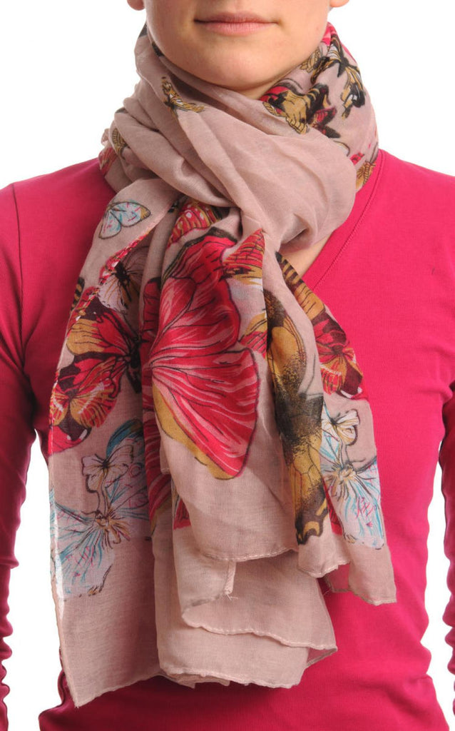 Colourful Butterflies On Soft Pink Unisex Scarf & Beach Sarong
