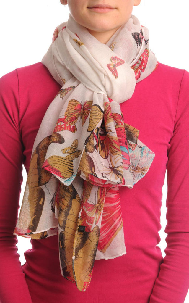 Colourful Butterflies On White Unisex Scarf & Beach Sarong