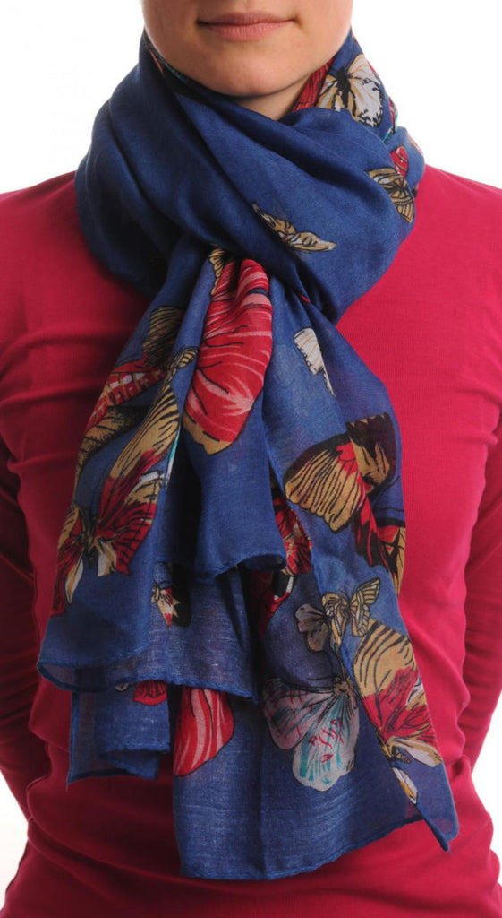 Colourful Butterflies On Navy Blue Unisex Scarf & Beach Sarong